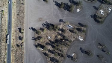 A drone's view of land-clearing on a property near the Newell Highway in northern NSW in 2017.