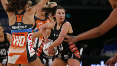 Magpies midcourter Kelsey Browne in action against the Giants on Sunday.