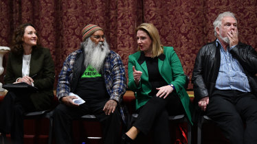 Mr Sumner at a Mayo candidates forum - with Liberal candidate Georgina Downer, Centre Alliance candidate Rebekha Sharkie and Labor's Reg Coutts - last week.