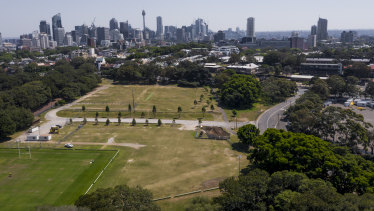 Grass fields at the northern end of Moore Park have long been used for parking during events.