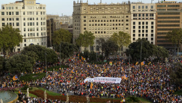Thousands gather at Catalonia square in Barcelona, Spain, on Monday.