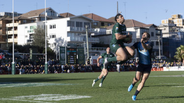 Josh Gordon of Randwick takes the ball during the match between Randwick and Argentina at Coogee Oval.