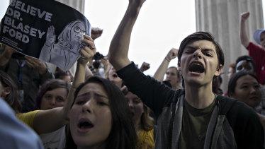 Demonstrators opposed to Supreme Court Associate Justice Brett Kavanaugh.