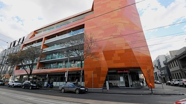 One of the many buildings that have used combustible cladding, in this instance in Prahran.