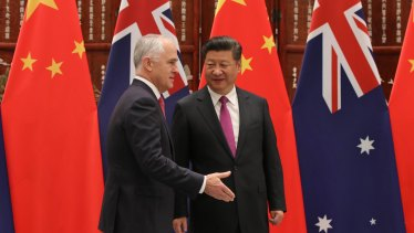 Malcolm Turnbull and Chinese President Xi Jinping.