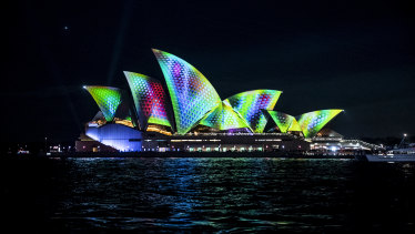 The Sydney Opera House during Vivid earlier this year.