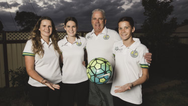 Malcolm Daisley with his daughters Rhiannon, 22, Sarah, 19, and Chloe, 16.