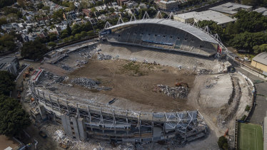 The demolition of Allianz Stadium at Moore Park in April 2019.