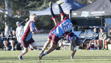 The tip tackle which saw Chance Peni suspended for a second straight time.