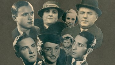 A montage of photos Sarah donated to the Jewish Holocaust Centre of her family before the war. Rear from left: Brother Gidal, mother Estera, Sarah and father Aron. Front: Brother Julek, sister Zosia, Zosia's son Misza and husband Ziamka Buszmac.