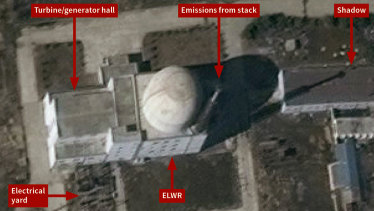 Trial operations appear under way at the Yongbyon experimental light water reactor in North Korea.
