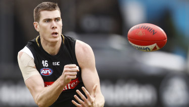 Pie in the sky: Collingwood forward Mason Cox appears unlikely to play again in 2019.