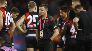 Bombers coach John Worsfold during the side's loss to St Kilda.