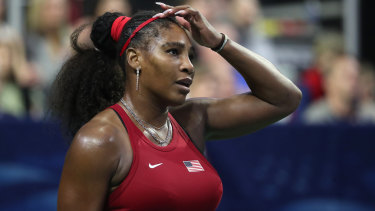 At a loss: Serena Williams during her match against Anastasija Sevastova in the 2020 Fed Cup qualifier between USA and Latvia.