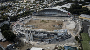 The demolition of the Allianz Stadium is well under way.
