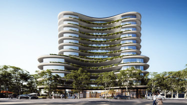 Goldfields' plans for its 4500 square metre parcel include a curving 12-level tower of 300 luxury apartments.