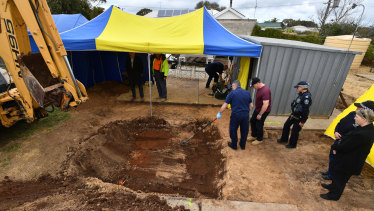 Excavation work at a South Australian property to recover the remains of Colleen Adams.