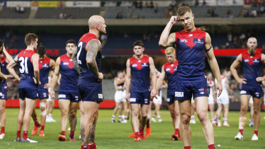 Dejected Demons after their round-five loss to the Saints.