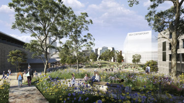 An artist's impression of the Melbourne Arts Precinct including an 18,000 sq m public garden.