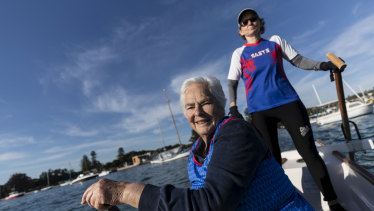 Eva Stern, 81, in her back-seat Dragon Boat rowing position at Rose Bay.