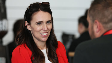 NZ Prime Minister Jacinda Ardern talks with delegates during the Labour Annual Conference at the Whanganui War Memorial Centre.