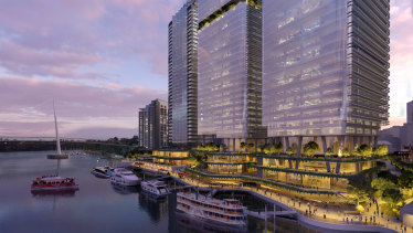 Waterfront Brisbane, a $2.1 billion Dexus project proposed for the site of Eagle Street Pier by the Brisbane River.