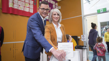 Daniel Andrews and his wife Cath cast their votes in Mulgrave on Saturday morning.