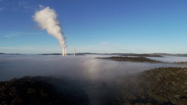 Steam plume from the Mt Piper coal-fired power station near Lithgow.