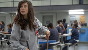 Yael Stone as new mother Lorna, who has become more grounded, by the seventh and final season of Orange is the New Black.