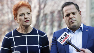 One Nation Senators Pauline Hanson and Peter Georgiou address the media during a doorstop interview at Parliament House in Canberra on  Thursday 31 May 2018.