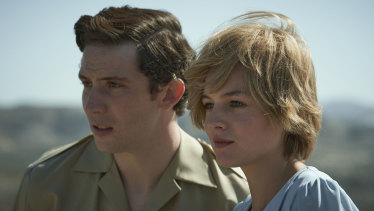Josh O'Connor as Charles and Emma Corrin as Diana in The Crown.