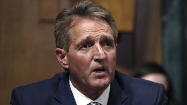 Republican Senator Jeff Flake speaks during the Senate Judiciary Committee hearing about an FBI investigation on Friday.