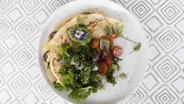 The mushroom crepe, which oozes plant-based cheesy goodness, is also strikingly beautiful to look at.