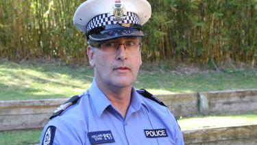 Sergeant Dean Kelland speaks to media at Perth Zoo on Saturday morning.