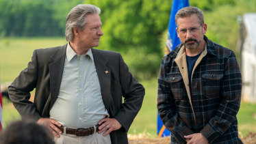 Chris Cooper stars as Jack Hastings and Steve Carell as Gary Zimmer in Irresistible.