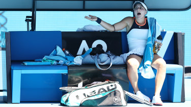 Bianca Andreescu during her second round loss to Su-Wei Hsieh on Wednesday.