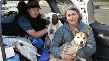 Sharon Ashby, son Nicholas and their two dogs Dexter and Cinnamon were evacuated from their home in Old Bar Road.