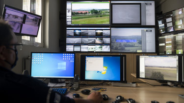 All sense on the border: Inside the operation centre at the village of Nea Vyssa in Greece.