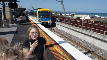 Transport Infrastructure Minister Jacinta Allan at the new Carrum station on its first morning.