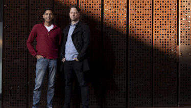 Former Atlassian colleagues Wendell Keuneman (left) and Jens Schumacher have joined up again through the startup Sajari.