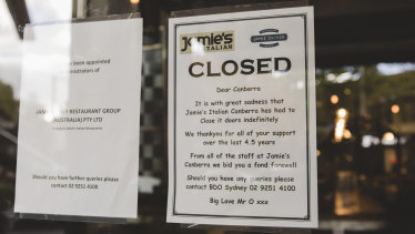 Jamie's Italian Canberra has closed their doors.