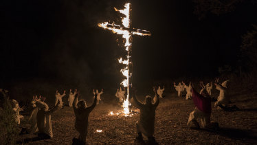 The KKK burn a cross in the film. Under Trump, white supremacists have once again felt emboldened.