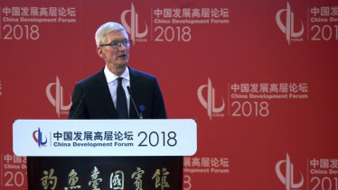 Tim Cook, Apple CEO,  at the opening ceremony of the China Development Forum held in Beijing, on Sunday.