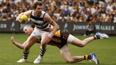 Cats star Patrick Dangerfield booted two goals against Hawthorn in Geelong's round 5 victory.