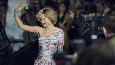 Actress Emma Corrin makes a suitably sylph-like entrance as Princess Diana in the new season.