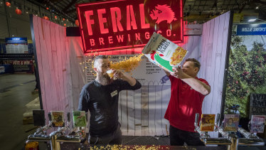Brendan and Damian from Feral Brewing (founder and NSW Brand ambassador) with their breakfast cereal beer on Friday.