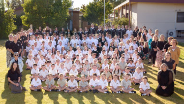 A whole-school photo of Tyrrell College, which had 162 students and 23 teaching staff in 2020.