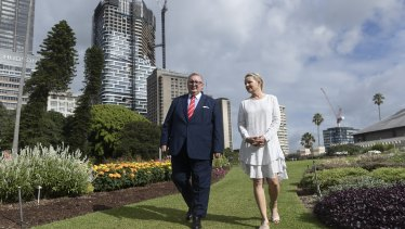 Federal Environment Minister Sussan Ley and NSW Minister for Arts Don Harwin at the Royal Botanic Gardens in Sydney.
