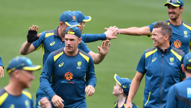 Missing in action: Australia – without a few key players – trains at Adelaide Oval ahead of the first Test.