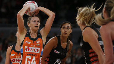 Jo Harten of the Giants shoots in an MVP performance against the Magpies.
